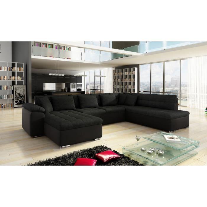 canap d 39 angle convertible en u alta iii noir angle gauche achat vente canap sofa divan. Black Bedroom Furniture Sets. Home Design Ideas