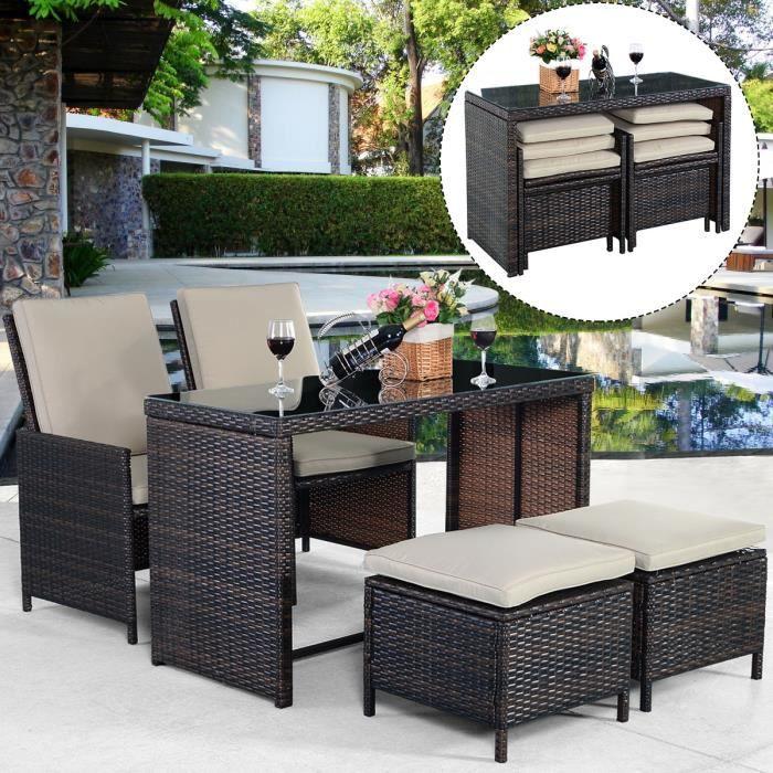 5pcs meubles de jardin en pe rotin divan table manger salon de jardin marron achat vente. Black Bedroom Furniture Sets. Home Design Ideas