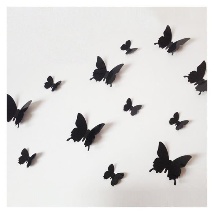 12 pi ces 3d stickers papillon 39 noir type 1 39 d coration for Decoration murale papillon 3d noir