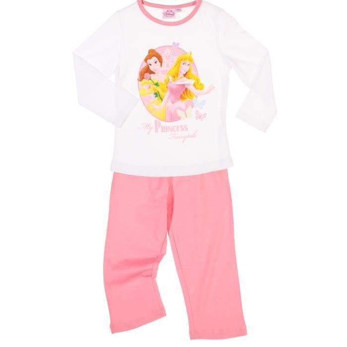pyjama long enfant fille disney blanc rose achat. Black Bedroom Furniture Sets. Home Design Ideas