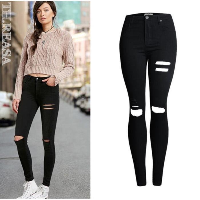 nouveau rue style taille haute pantalon pieds femme couleur unie trous d sign pantalons sexy. Black Bedroom Furniture Sets. Home Design Ideas
