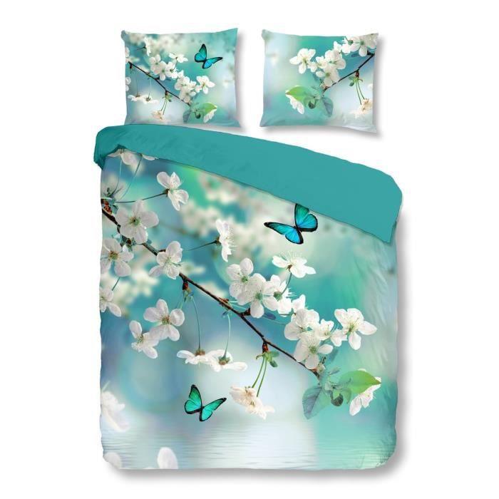 good morning parure de couette blossom 100 coton 1 housse de couette 200x200 cm 2 taies d. Black Bedroom Furniture Sets. Home Design Ideas