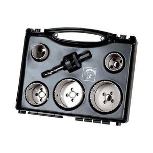 WOLFCRAFT Coffret spécial électricité et plomberie 5 trépans ? 35, 40, 51, 65, 68mm et 1 axe avec foret centreur