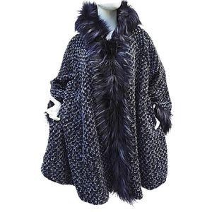 manteau femme veste laine grande taille 50 52 54 56 58 fourrure chaud ample noir noir noir. Black Bedroom Furniture Sets. Home Design Ideas