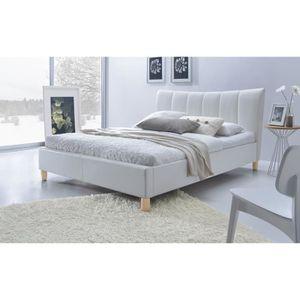 lit adulte avec tete de lit blanc 140x200 achat vente. Black Bedroom Furniture Sets. Home Design Ideas