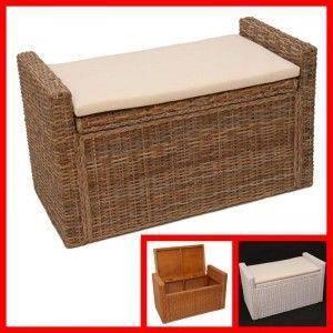 banc coffre de rangement m92 rotin 88x44x51cm brun achat vente banc cdiscount. Black Bedroom Furniture Sets. Home Design Ideas