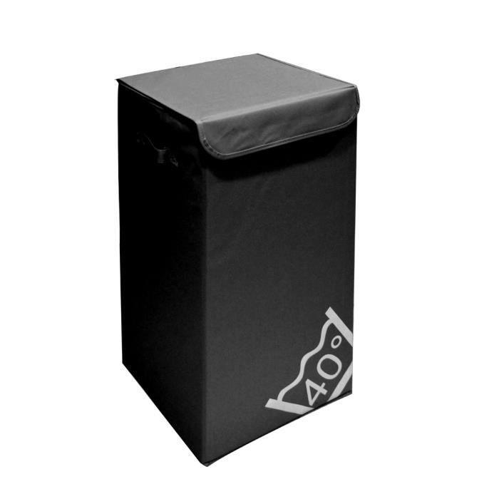 Panier linge carr avec couvercle noir achat vente - Panier a linge sale 3 compartiments ...