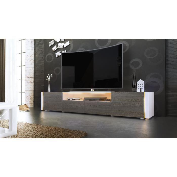 TV blanc et bois wengé sans LED - Achat / Vente meuble tv Meuble TV ...