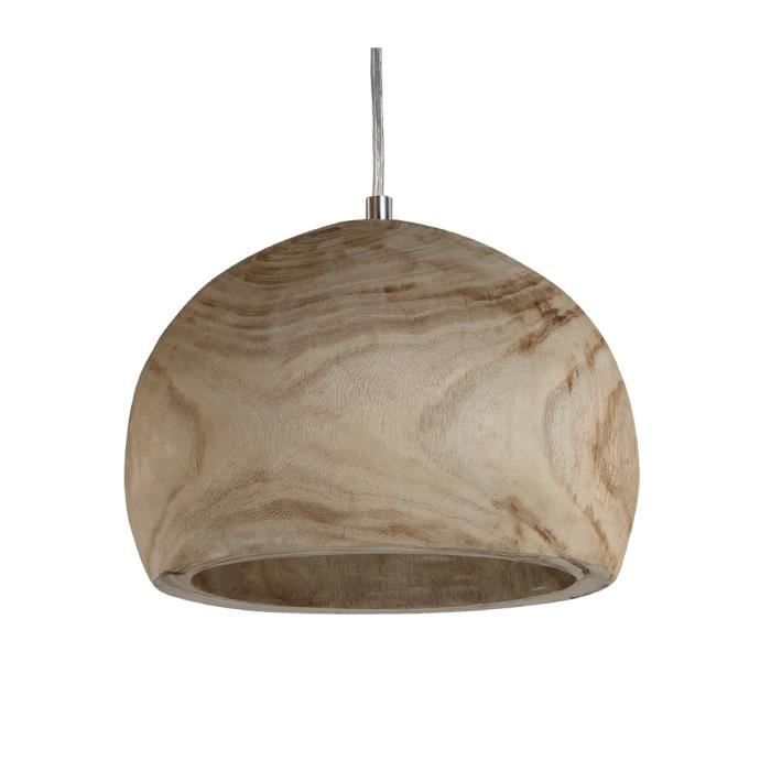 Suspension ronde en bois style scandinave plafonnier de for Suspension bois luminaire