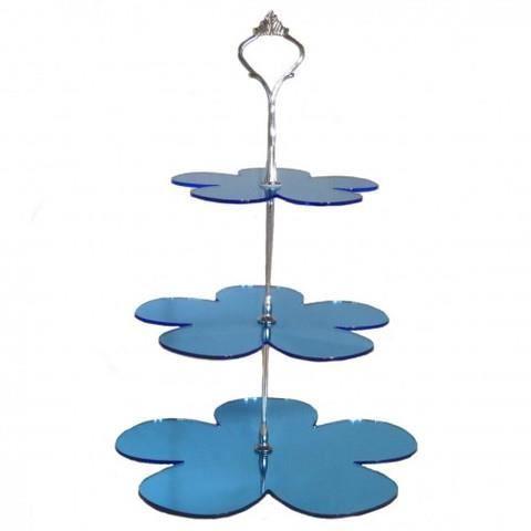 3 niveaux bleu miroir forme marguerite stand g tea achat for Miroir acrylique incassable