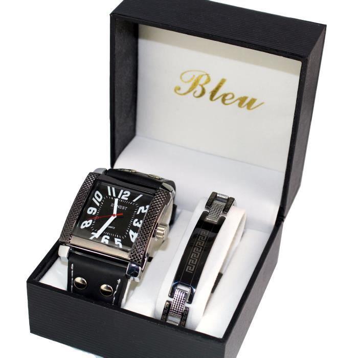 coffret montre homme ernest bracelet cuir plus gourmette achat vente montre coffret montre. Black Bedroom Furniture Sets. Home Design Ideas