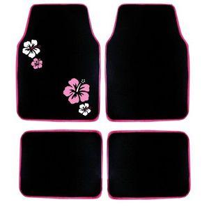 Jeu de 4 tapis moquette noir broderies Hibiscus