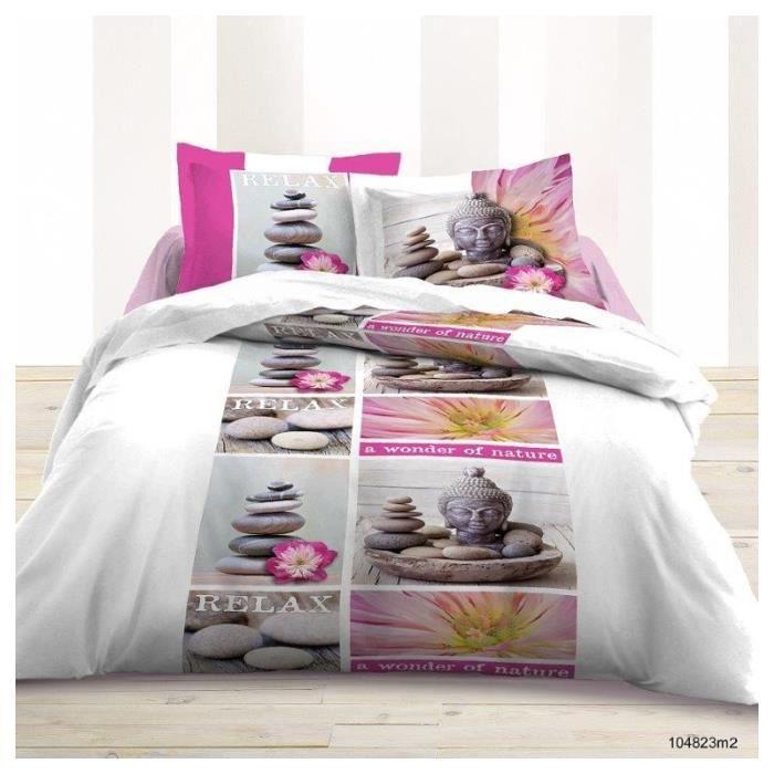Housse de couette en coton 240x220 cm 2 taies relax zen for Parure de lit asiatique
