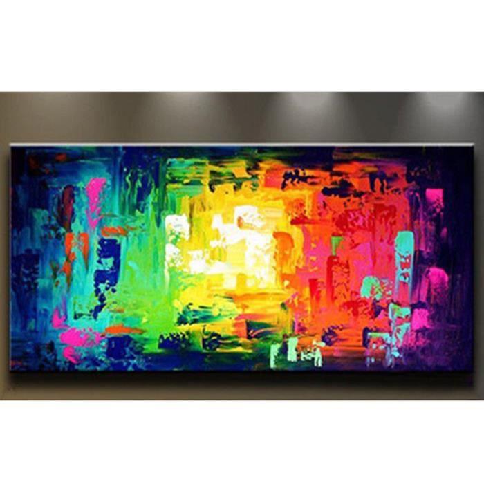 Toile peinture huile main contemporain art color abstraite wall mur art d - Toile a peindre pas cher ...