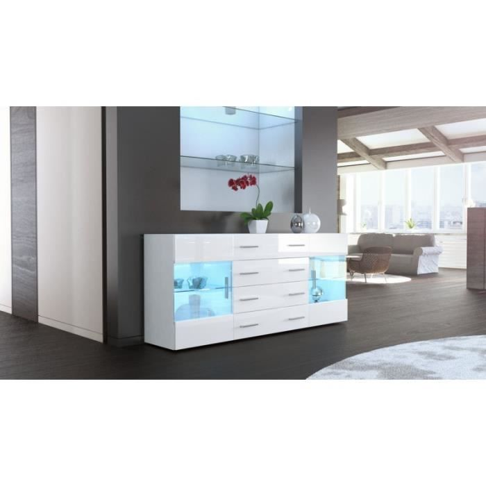 buffet laque blanc led maison design. Black Bedroom Furniture Sets. Home Design Ideas