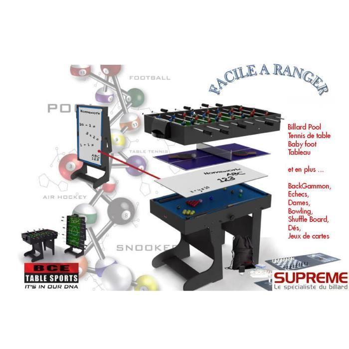Billard multi jeux 12 en 1 pliable noire achat vente table multi jeux - Table multi jeux 5 en 1 ...