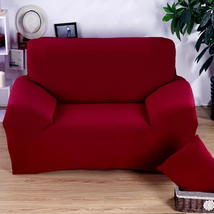 Hicollie 1 rouge housse canap spandex polyester lycra 2 for Housse pour canape en cuir