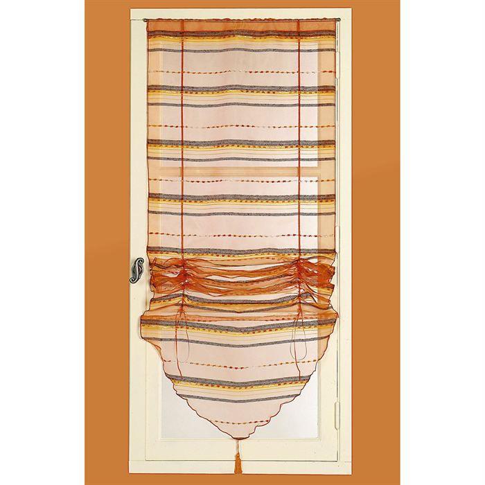 Store voilage en organza ray brique 45 x 180cm achat for Store ou rideau occultant pour fenetre