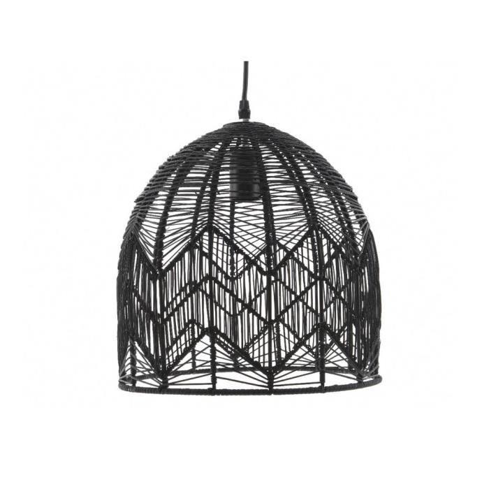 suspension d me ajour e en rotin noir kays achat vente suspension d me ajour e en. Black Bedroom Furniture Sets. Home Design Ideas