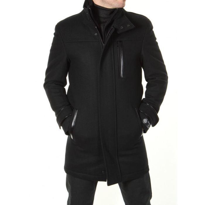 homme manteau mi long col montant noir noir achat vente manteau caban cdiscount. Black Bedroom Furniture Sets. Home Design Ideas