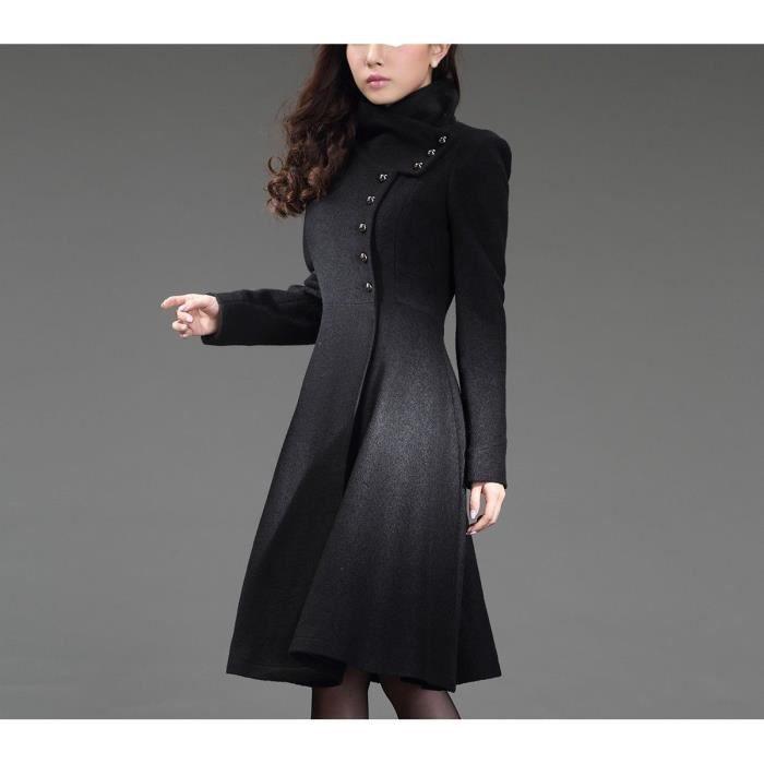 long manteau noir l gant femme en laine noir achat vente manteau caban cdiscount. Black Bedroom Furniture Sets. Home Design Ideas
