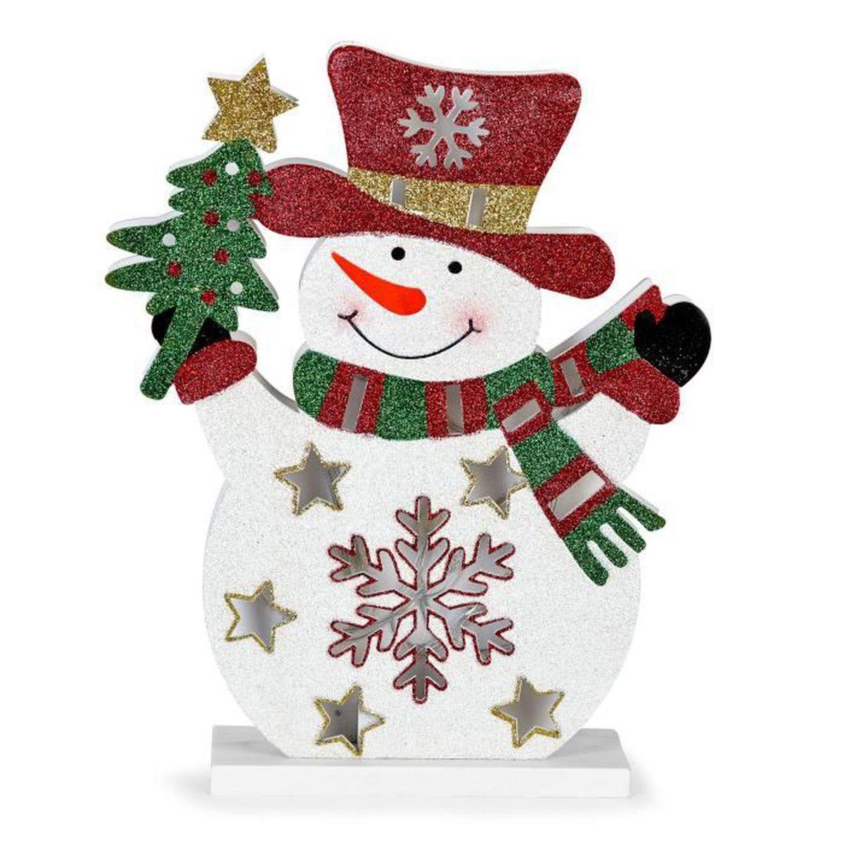 Tradition rurale bonhomme de neige en bois lumineux h30cm blanc achat vente tradition - Bonhomme de neige en bois ...