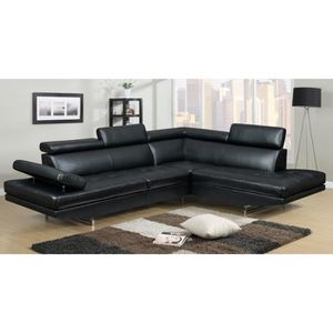 CANAPÉ - SOFA - DIVAN Canapé d'angle design noir 6 places (ANGLE DROIT)