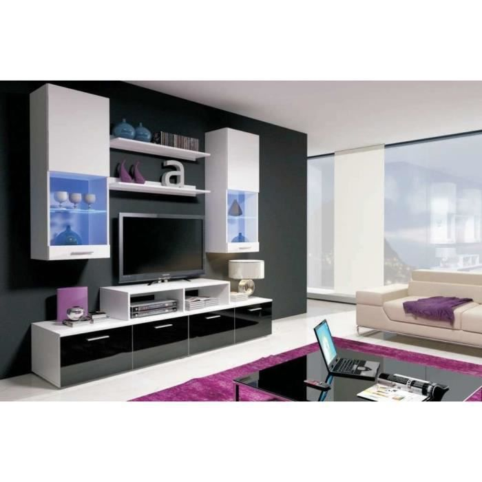 mur tv complet led white ii achat vente meuble tv mur tv complet led white ii cdiscount. Black Bedroom Furniture Sets. Home Design Ideas