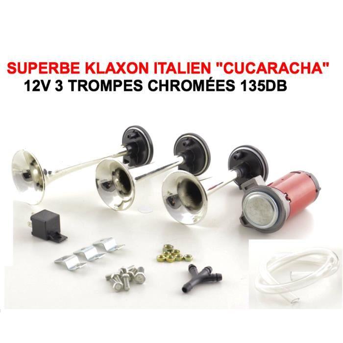 cucaracha klaxon italien 3 trompes 12v serie limitee chrome 135db tour de france raid. Black Bedroom Furniture Sets. Home Design Ideas