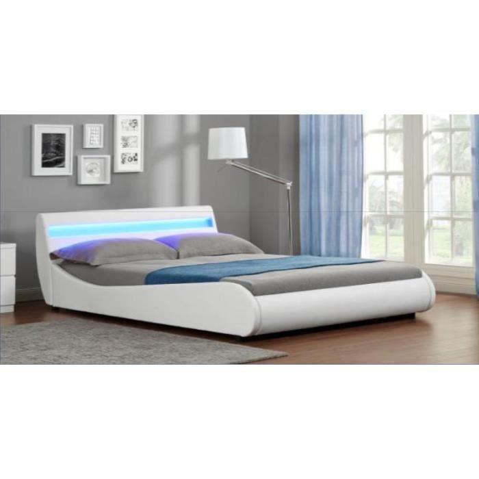 Lit design 2 places malya blanc 160x200 achat vente structure de lit lit - Lit 2 personnes blanc ...