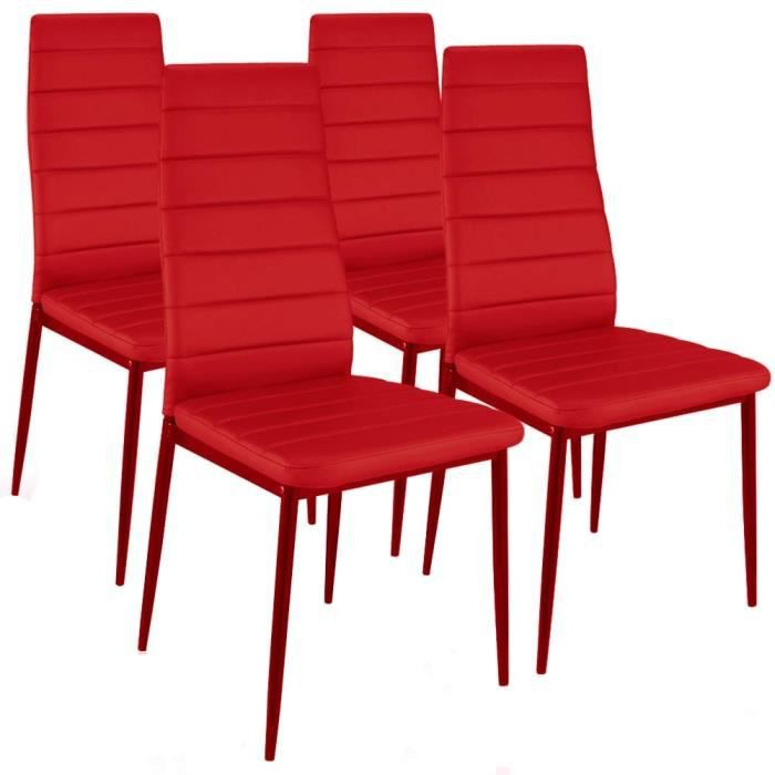 chaise smart rouge design lot de 4 rouge achat vente chaise rouge cdiscount. Black Bedroom Furniture Sets. Home Design Ideas