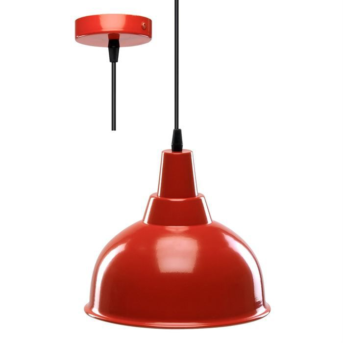 Suspension indus rouge blanche achat vente for Suspension rouge