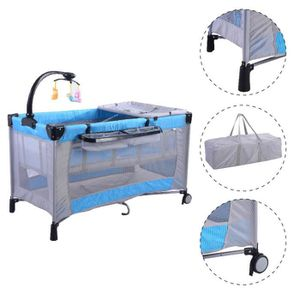 lit b b pliant parc pour b b parapluie avec accessoires matelas lit de voyage bleu gris. Black Bedroom Furniture Sets. Home Design Ideas