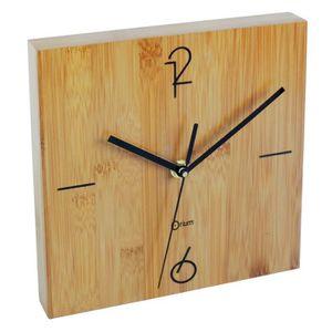 HORLOGE BAMBOU Horloge murale à piles 20x20 cm