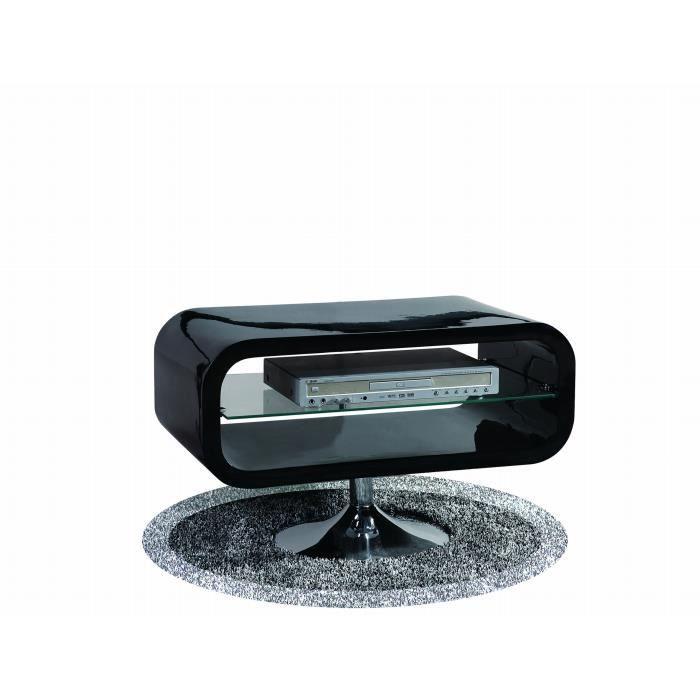 Meuble tv design pop noir laqu achat vente meuble tv - Petit meuble tv noir ...