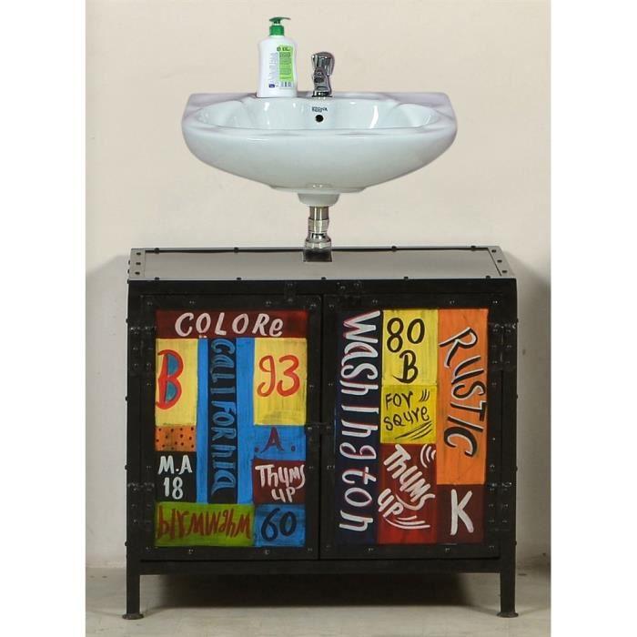 meuble dessous lavabo colore m tal bicolore achat vente meuble vasque plan meuble dessous. Black Bedroom Furniture Sets. Home Design Ideas