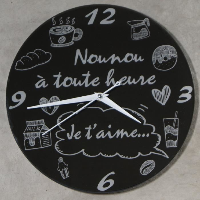 Horloge je t 39 aime nounou cadeau pour la f te des nounous - Cadeau nounou fin d annee ...