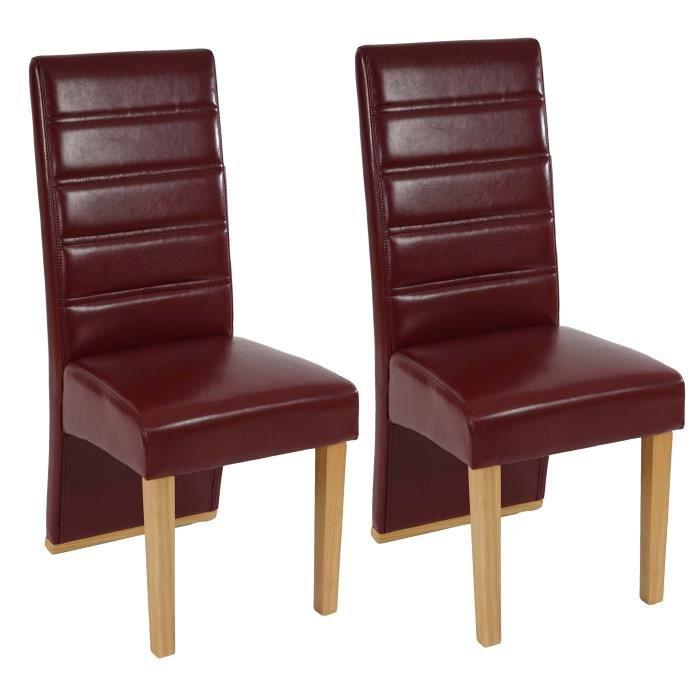 Lot de 2 chaises de salle manger rouge achat vente for Chaise design rouge salle a manger