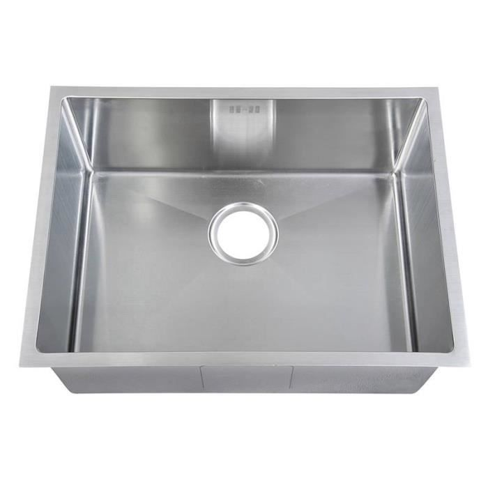 Evier inox sous plan 1 bac ds016 achat vente evier de cuisine evier inox - Evier sous plan inox ...