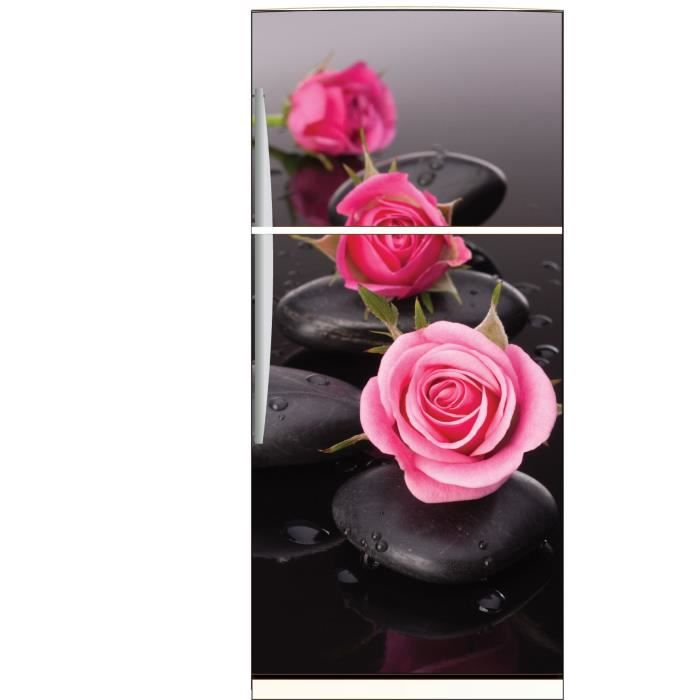 sticker frigo d co cuisine roses galets achat vente stickers cdiscount. Black Bedroom Furniture Sets. Home Design Ideas