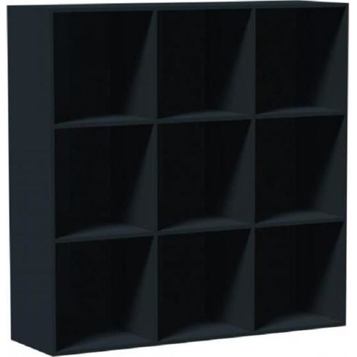 cube de rangement 9 niches noir cube de rangement 9 casiers noir biblioth q l 104 x l 34 x. Black Bedroom Furniture Sets. Home Design Ideas