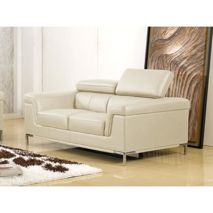 Canap 2 places rania beige achat vente canap for Canape 2 places beige