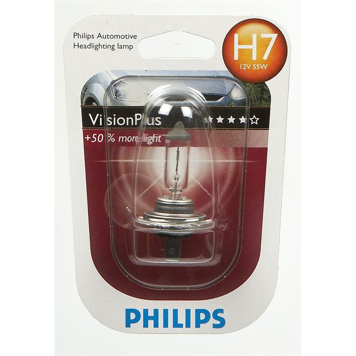 ampoule philips visionplus h7 12v 55w achat vente phares optiques ampoule philips visp h7. Black Bedroom Furniture Sets. Home Design Ideas