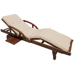 Coussin pour chaise longue cr me 195 cm achat vente - Coussin pour chaise longue de jardin ...