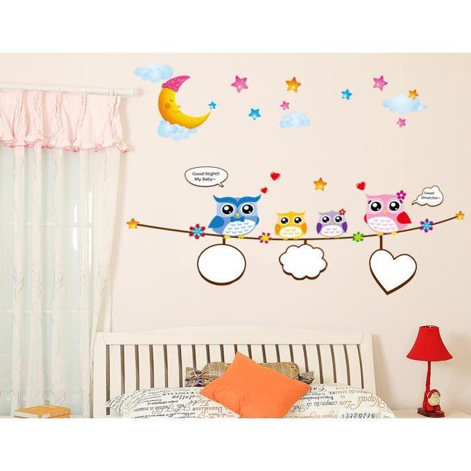 good night hiboux mignon stickers muraux d coration chambre d 39 enfant achat vente stickers. Black Bedroom Furniture Sets. Home Design Ideas