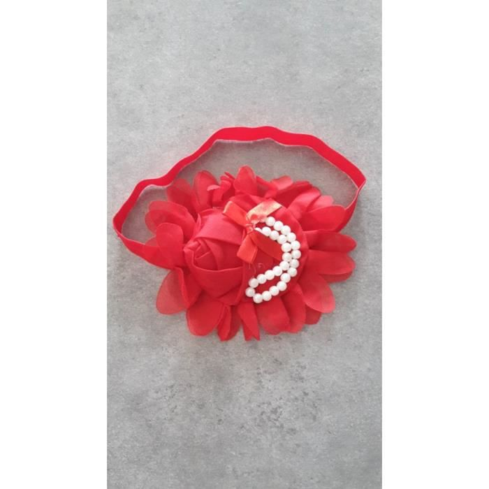 bandeau a cheveux bebe fille fleur et perle rouge achat. Black Bedroom Furniture Sets. Home Design Ideas
