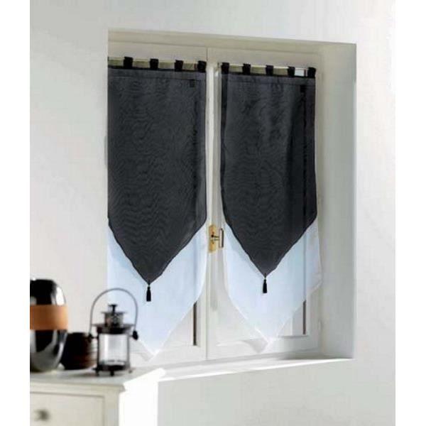 paire de voilages bicolores pompons 60x90 h cm blanc noir achat vente rideau cdiscount. Black Bedroom Furniture Sets. Home Design Ideas