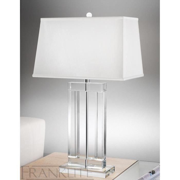 lampe hugo 77 5 cm en cristal et soie achat vente. Black Bedroom Furniture Sets. Home Design Ideas