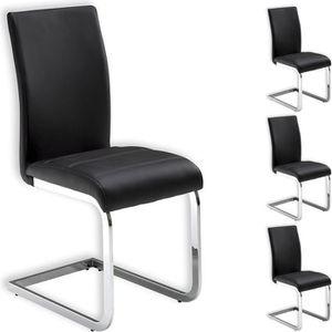 CHAISE Lot de 4 chaises de salle à manger LETICIA noir