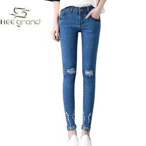 femme fille pantalon jean collant de trou style rock rivet classique hee grand bleu achat. Black Bedroom Furniture Sets. Home Design Ideas
